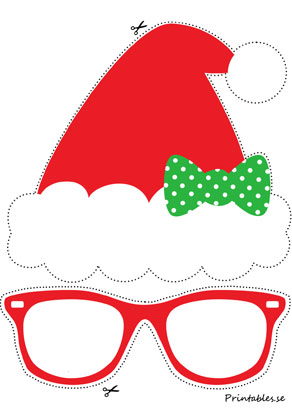 Photo booth props: Santa hat with a bow  | Free printable for Christmas
