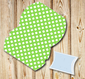 Green pillow box with white dots  | Free printable gift box
