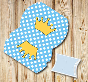 Light blue pillow box with white dots and crowns  | Free printable gift box