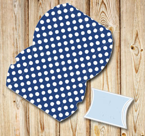 Dark blue pillow box with white dots  | Free printable gift box