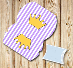 Light purple and white striped pillow box with crowns  | Free printable gift box