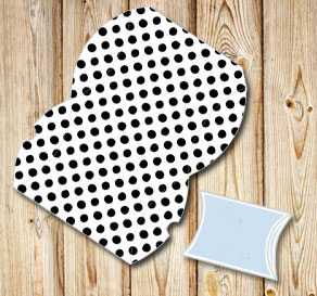 White pillow box with black dots  | Free printable gift box