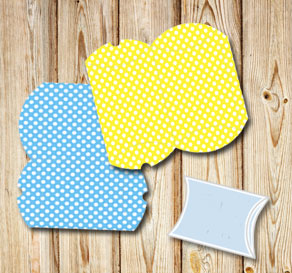 Colorful pillow bowes with white dots  | Free printable gift box