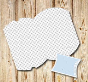 White pillow box with grey dots  | Free printable gift box