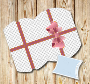 White pillow box with grey dots and a pink bow  | Free printable gift box