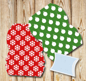 Pillow boxes with a christmas pattern  | Free printable for Christmas