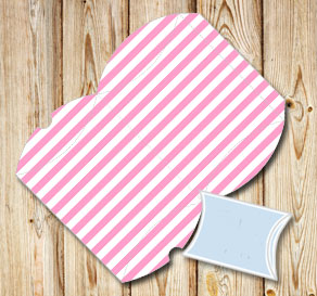 Pink and white striped pillow boxes  | Free printable gift box