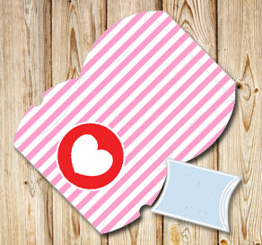 Pink and white striped pillow boxes with red hearts  | Free printable for Valentines day