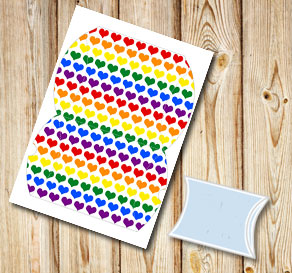 Pillow box with colorful hearts  | Free printable for Valentines day