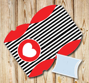Black striped pillow boxes with red hearts  | Free printable for Valentines day