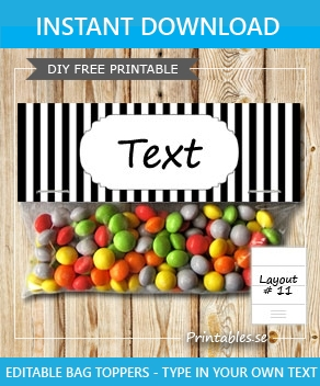 picture about Free Printable Bag Toppers Templates named Black and white striped bag toppers (cost-free printable)