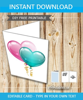 White card with pink and green heart shaped balloons  | Free printable for Valentines day