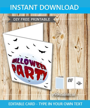 White card with Halloween party globe and bats  | Free printable for Halloween