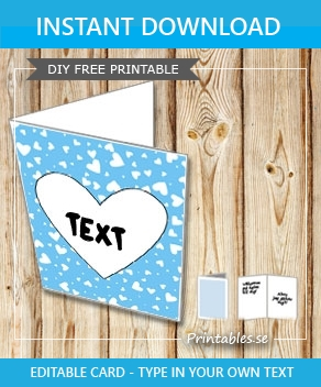 Light blue card with hearts  | Free printable for Valentines day