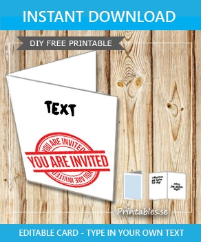Invitation card: You are invited with text (red)  | Free printable card