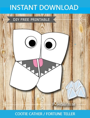 Cootie catcher: Monster  | Free printable toy
