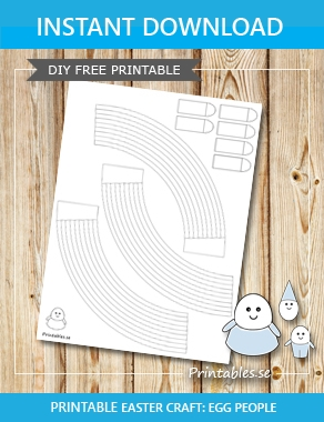 Egg people: Striped skirts to color yourself  | Free printable for Easter