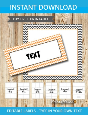 Grey and orange labels with white zig zag  | Free printable labels