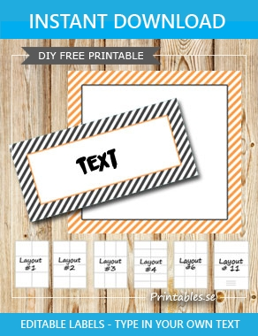 Grey and orange labels with white stripes  | Free printable labels