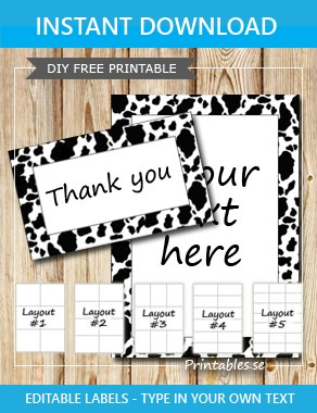 Labels with a cow printed frame (free printable)