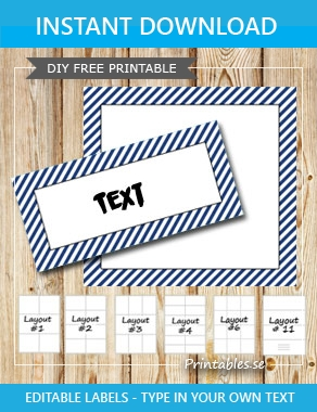 Labels with a white striped dark blue frame  | Free printable labels