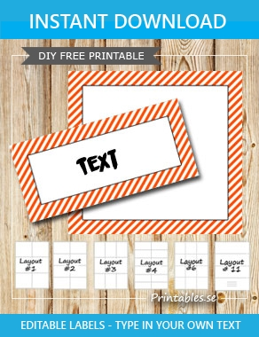 Labels with a white striped orange frame  | Free printable labels