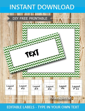 Labels with a zig zag striped green frame  | Free printable labels