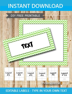 Labels with a zig zag striped light green frame  | Free printable labels