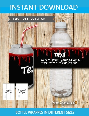 Bottle labels in black bloody paper  | Free printable for Halloween