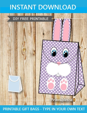 Purple giftbag with white dots and the easter bunny  | Free printable for Easter