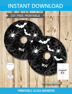 Halloween marrbeled glass markers  | Free printable for Halloween
