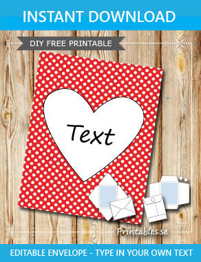 Red envelope with white dots and a heart  | Free printable for Valentines day