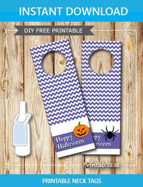 Purple neck tags for Halloween  | Free printable for Halloween