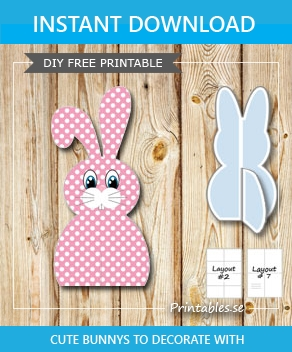 Pink sitting easter bunnys with white dots  | Free printable for Easter