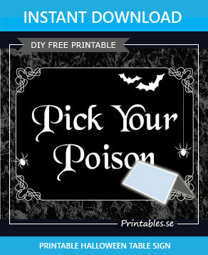 Table tent for the Halloween table  | Free printable for Halloween