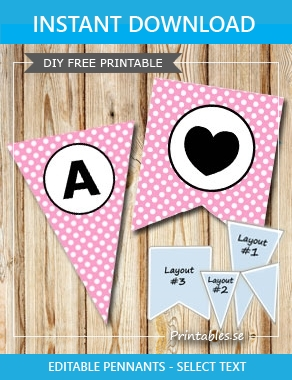 Pink pennants with white dots and circle A-Z  | Free printable pennant/banner