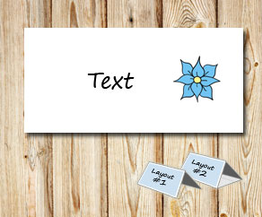 Placement card with light blue flowers 2  | Free printable placement cards