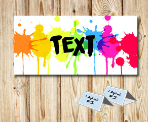 Placement cards with colorful splashes of paint  | Free printable placement cards