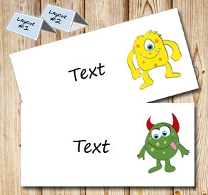 Placement card with cute monsters  | Free printable placement cards