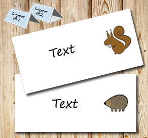 Placement card with squirrel and hedgehog 	  | Free printable placement cards