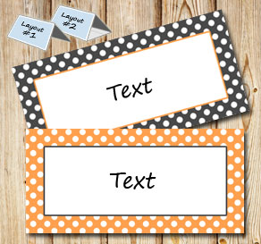 Grey and orange placement cards with white dots  | Free printable placement cards