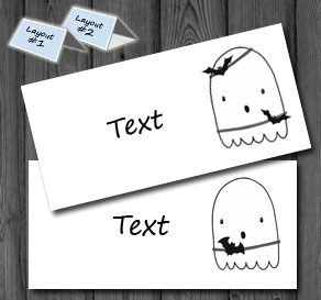Placement cards with Halloween ghosts 1  | Free printable for Halloween