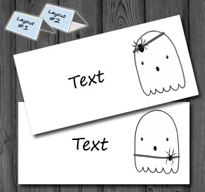 Placement cards with Halloween ghosts 2  | Free printable for Halloween