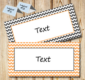 Grey and orange placement card with white zig zag 	  | Free printable placement cards