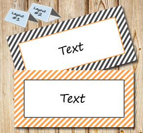Grey and orange placement cards with white e stripes  | Free printable placement cards