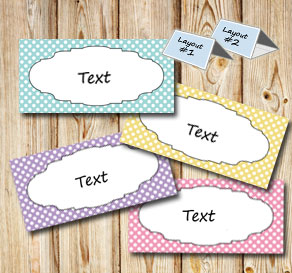Placement card with light colors and white dots  | Free printable for Easter