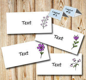 Placement card with spurple flowers  | Free printable for Midsummer