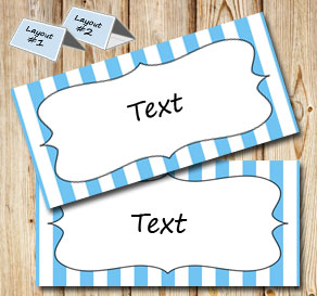 Light blue and white striped placement cards  | Free printable placement cards