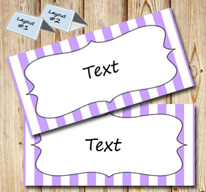 Light purple and white striped placement cards  | Free printable placement cards