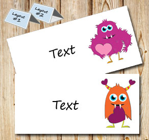 Placement card with cute love monsters  | Free printable placement cards